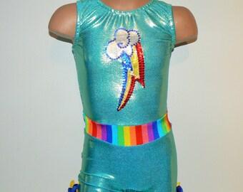 My Little Pony RAINBOW DASH Inspired Biketard. Dancewear. Performance Costume. Toddlers Girls Gymnastics Biketard. SIZES 2T - Girls 12