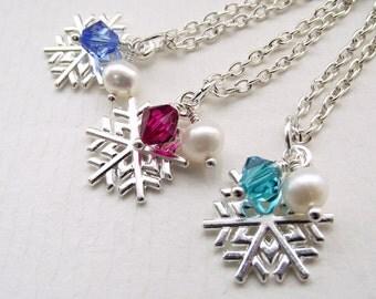 Snowflake necklace, silver snowflake, birthstone necklace, swarovski necklace