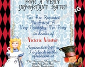 ALICE IN WONDERLAND inspired Tea Party Invitation Fairytale Party Custom Wording Topsy Turvy