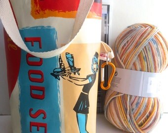 Knitting bag SMALL, project , notions case, sock bag  - RETRO DINER