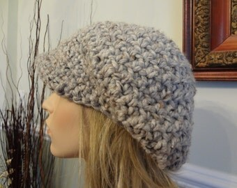 Silver Gray with Dark Gray and Black flecks Nubby Stitch Newsboy Messenger Hat.  Teens and Adult, Super Soft and Warm .