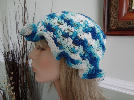 ... Crochet Adult Cotton Sun Hat. Great for Beach, Pool. Wet Hair not a