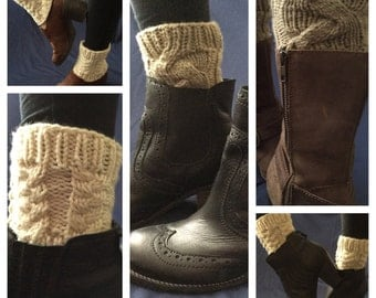 Chunky hand knit boot cuffs, Off White