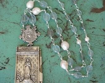 Antique Assemblage Necklace with Lourdes Aide de Memoire, Sacred Heart Centrepiece, Aquamarine and Pearls