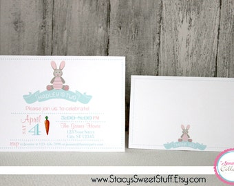Bunny Birthday Invitation (pink), DIY, Printable