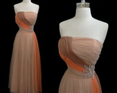 Vintage 1950s Emma Domb Sequined Nude and Coral Chiffon Strapless Cocktail Party Dress XS