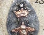 Soldered Queen Bee Pendant Raw Brass Crown Bumble Bee Bohemian Scrapbooking Supply Altered Art Supplies Craft Supplies Mixed Metals Jewelry