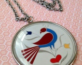 "Vintage DUTCH Folk Art PEACOCK  Necklace // Bird with TULIPS Silvertone 24"" Necklace"