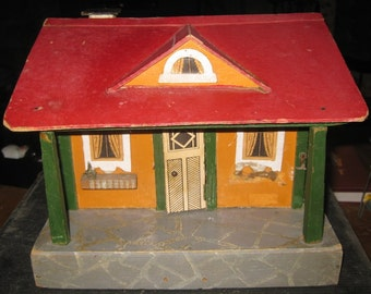 Antique German Red Roof Cottage Dollhouse 1930's