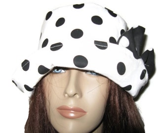White with Black Polka Dots Cloche Hat womens