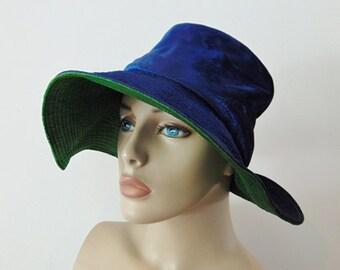 1940s rayon BLUE VELVET floppy hat size 21