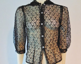 60s sheer BLACK LACE blouse size small RESERVED