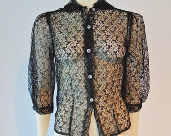 60s sheer BLACK LACE blouse size small