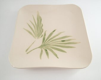 Ceramic Dinner Plate - Stoneware Plate - Pottery Plate - Handbuilt Plate - Tropical Plate - Minimalist Plate - Wedding Registry
