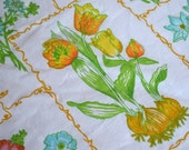 Vintage Bed Sheet and Pillowcase - Spring Flowers and Bulbs - Twin Flat