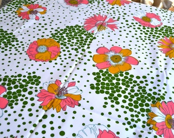 Vintage Fabric - Mod Pink Flowers and Polka Dots - 45 x 38 Polyester Upholstery