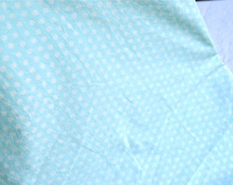Vintage Fabric - Aqua Blue and White Polka Dot - 42 x 36 Medium Weight Cotton
