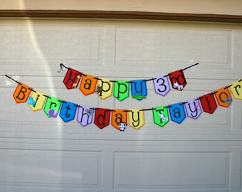 Rainbow Zoo themed banner, birthday decorations, zoo themed