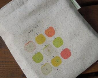 Reusable sandwich bag - Unbleached cotton sandwich bag - Reuse sandwich bag -  Apples on natural unbleached cotton