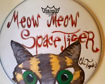 Meow Meow Space Tiger painted drum head