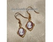 Cameo Earrings in Amber Brown Small Brushed Silver Drop Style J hook Victorian look 1 3/4 inch