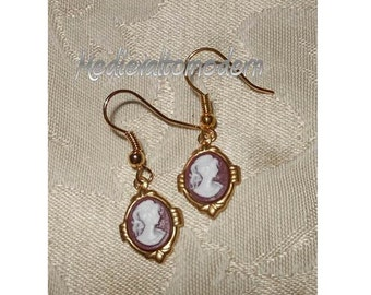 Cameo Earrings in Blue Black Amber Brown Small Brassy Gold Drop Style J hook Victorian look 1 3/4 inch