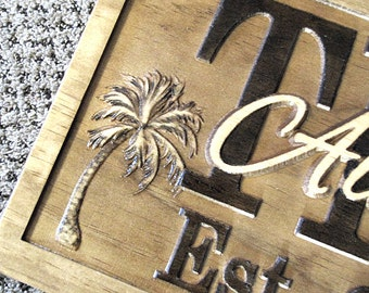 Personalized Wedding Gift Couples Family Last Name Love Sign Plaque Custom Carved Wood Est. Ocean Beach Pool RV Lake House Palm Tree Camper