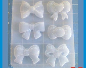 SALE 6 different Kawaii Bows  Plastic Handmade Resin Mold-