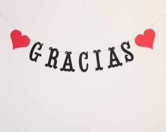 Gracias Banner - Custom Colors - Spanish Thank You - Wedding Decoration or Photo Prop