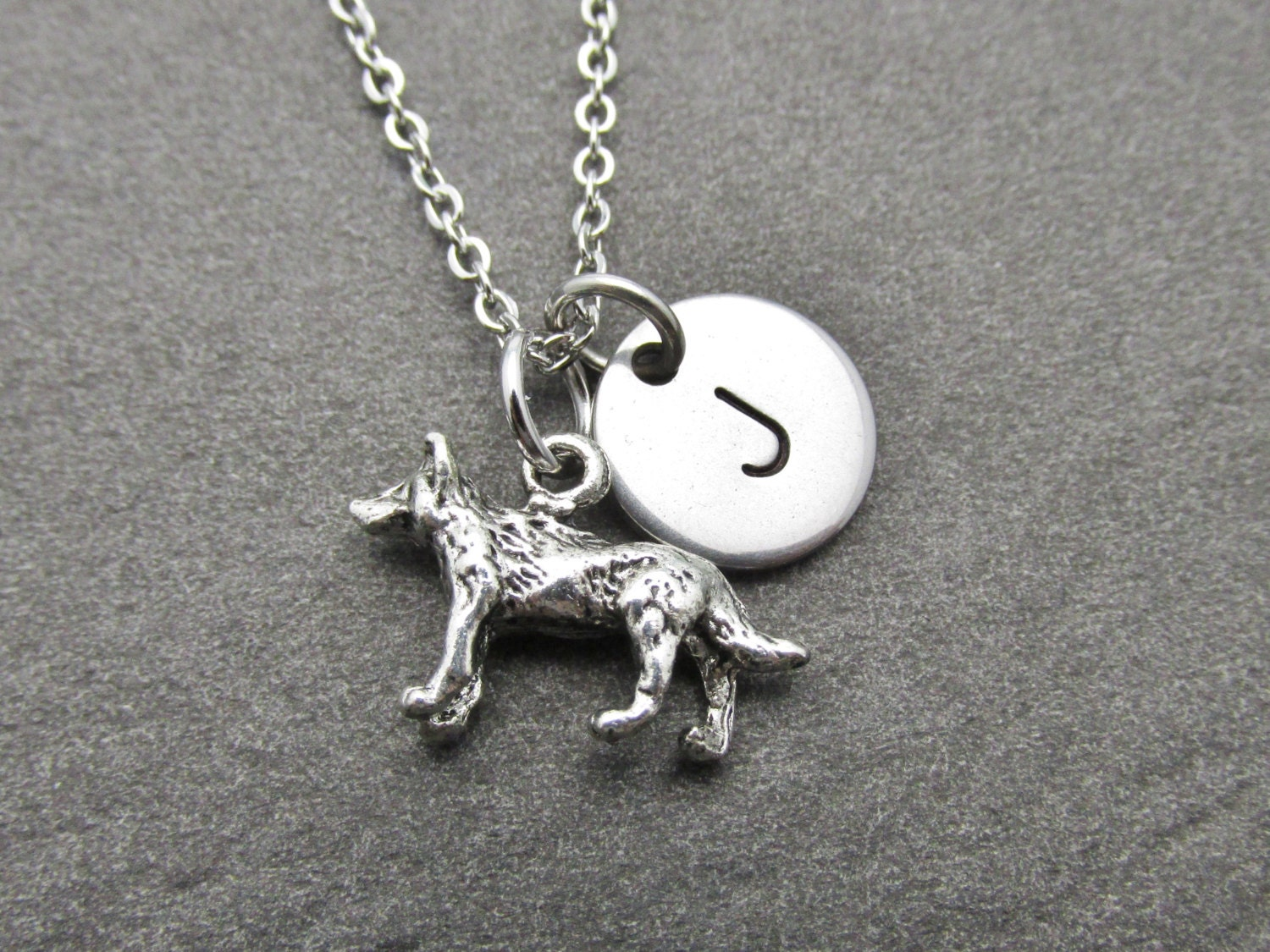 werewolf necklace with initial charm silver by cranberrystreetny