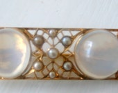 Antique GOLD Moonstone Brooch Arts and Craft Movement OOAK Seed Pearls k gold