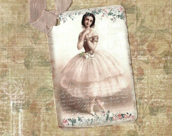 Tags, Ballerina Tags, Vintage Style, Ballet Gift Tags