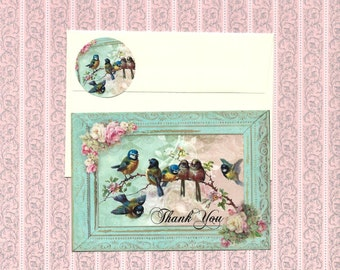 Note Cards, Bird Cards, Roses & Birds, Flat Note Cards, Stickers