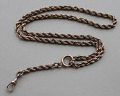 Antique Victorian Hayward Thick Rope Rose Gold GF Chain Y Locket Necklace / Walter E. Hayward Co / WEH