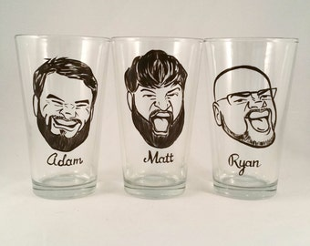 Custom Groomsmen Gifts - Groomsman Gifts - Set of 3 - Groomsmen Gift - Vintage Style - Caricature Beer Glass- Hand Painted Beer Glass