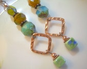 Gypsy Drops -Copper Picasso Czech and Ceramic Bead Earrings