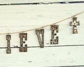 Custom Name Sign, Rustic Decor, Rusty Metal Banner, Wedding Backdrop Personalized Banner, Custom Decor,