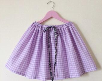 Girls Skirt,  violet gingham