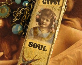 """Handmade Soldered Pendant Necklace, """"Gypsy Soul II"""", Altered Art, Junk Gypsy Style, Vintage Photo, Charms, Gypsy, Boho, Junk, Unique"""