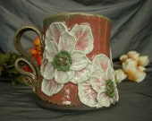 Ceramic Coffee Mug, Tea Cup with Poppy Flowers in Dusk Pink  and Black Mountain