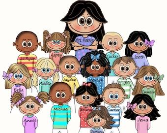 Custom Personalized TEACHER gift TOTE Bag or POSTER School Preschool Kindergarten Pre-K First Grade Graduation