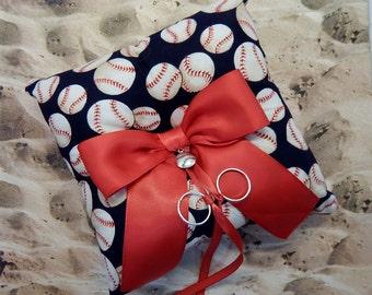 Baseball Navy Red Fabric Red Bow Baseball softball Charm Wedding Ring Bearer Pillow