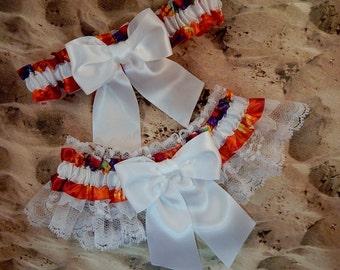 Rainbow Multi Tie dye White Satin white Lace Wedding Bridal Garter Toss Set