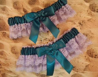 Lavender Lace Double Layers Teal Satin Wedding Bridal Garter Toss Set