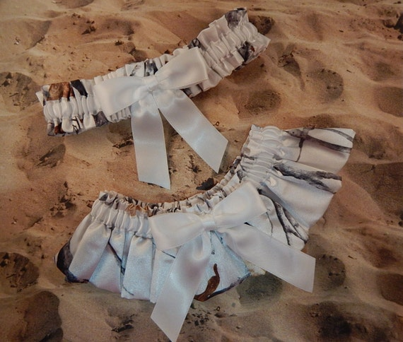 Snow camo camouflage white ribbon bridal wedding garter set for Camo ribbon for wedding dress