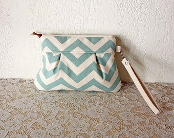 Mint Chevron Wristlet Pouch Clutch Nautical stripe--MADE TO ORDER--