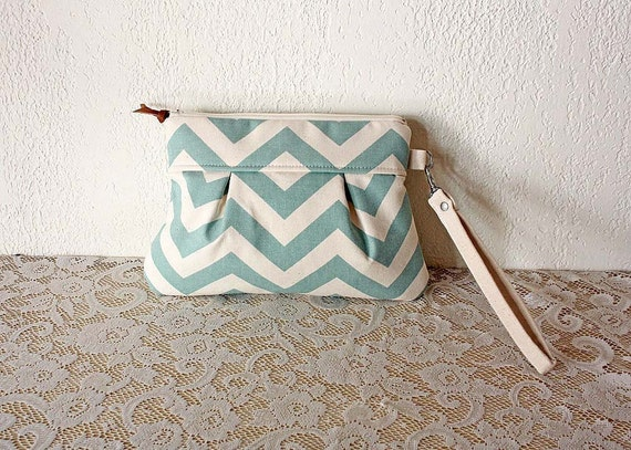 Pleated Chevron Wristlet/ Pouch/ Clutch// Nautical stripe / Mint/ Cream color- MADE TO ORDER