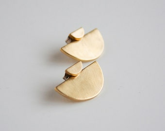 Half circle ear jacket set- small crescent stud earrings- sterling silver- Brass- modern post earrings
