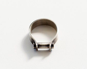 Industrial band ring- two tone ring, sterling silver- oxidized silver ring- modern wedding band- men's ring