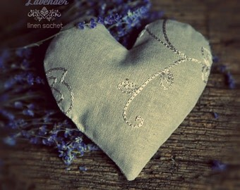 Organic Lavender Heart Sachet Dream pillow natural linen eco-friendly soothing relaxing